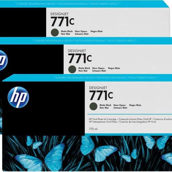 HP No. 771 Triple pack  - Matt Black - 775 ml