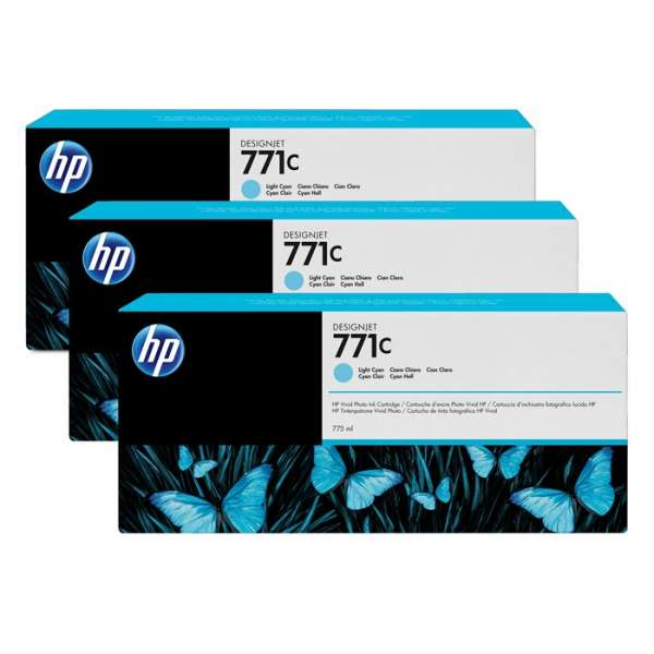 HP No. 771 Triple pack  Ink Cartridges- Light cyan