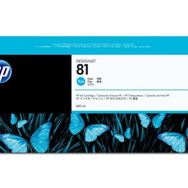 HP No. 81 Dye Ink Cartridge Cyan - 680ml