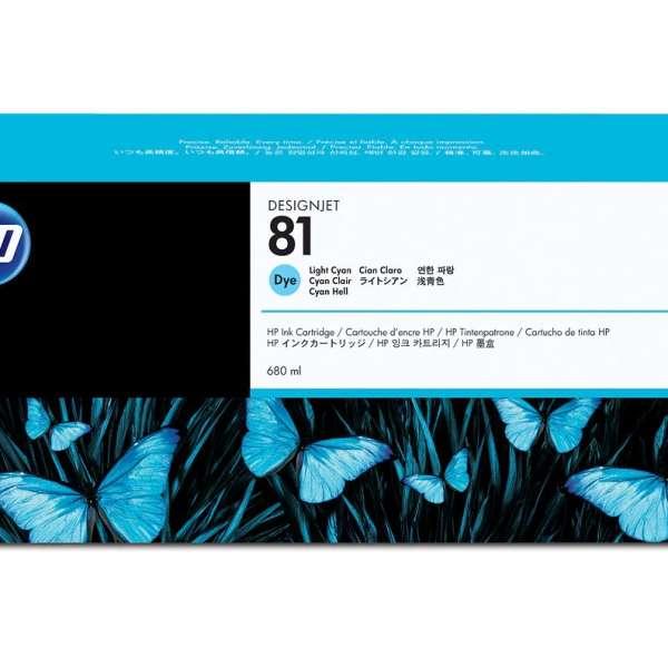 HP No. 81 Dye Ink Cartridge Light Cyan - 680ml