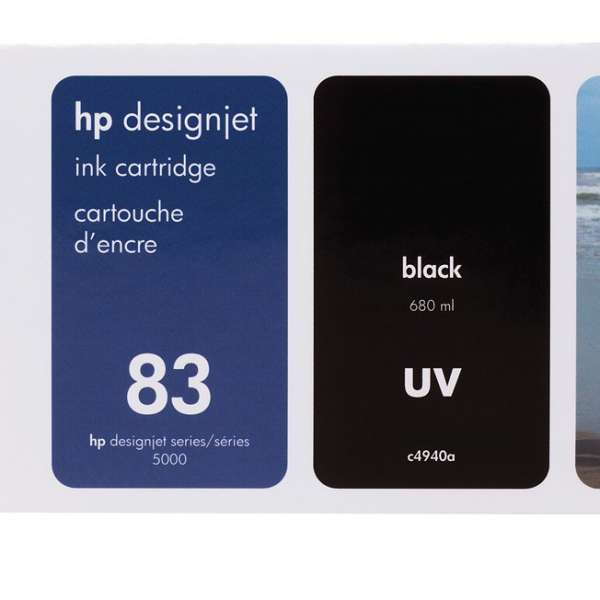 HP No. 83 UV Ink Cartridge Black - 680ml