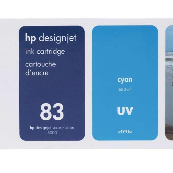 HP No. 83 UV Ink Cartridge Cyan - 680ml
