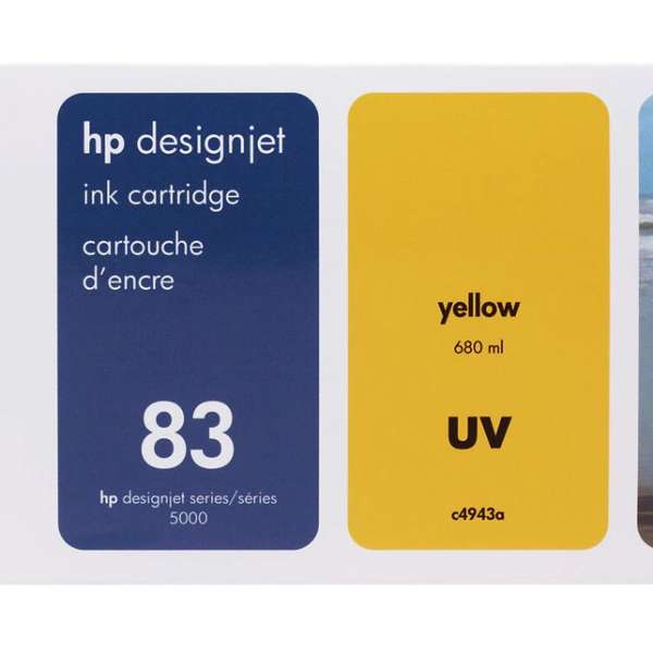 HP No. 83 UV Ink Cartridge Yellow - 680ml