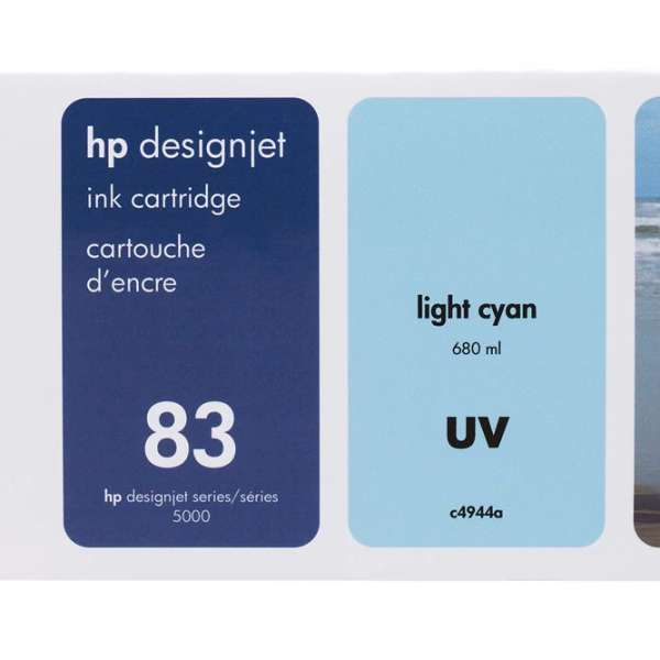 HP No. 83 UV Ink Cartridge Light Cyan - 680ml