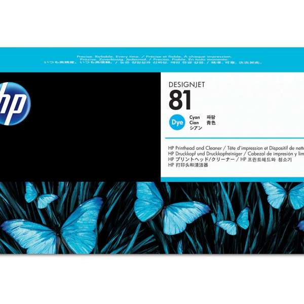 HP No. 81 Dye Ink Printhead and Cleaner - Cyan