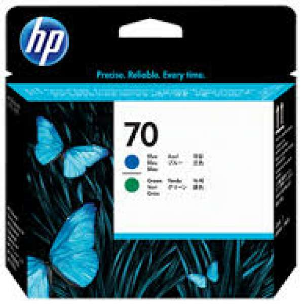 HP No. 70 Ink Printhead - Blue & Green