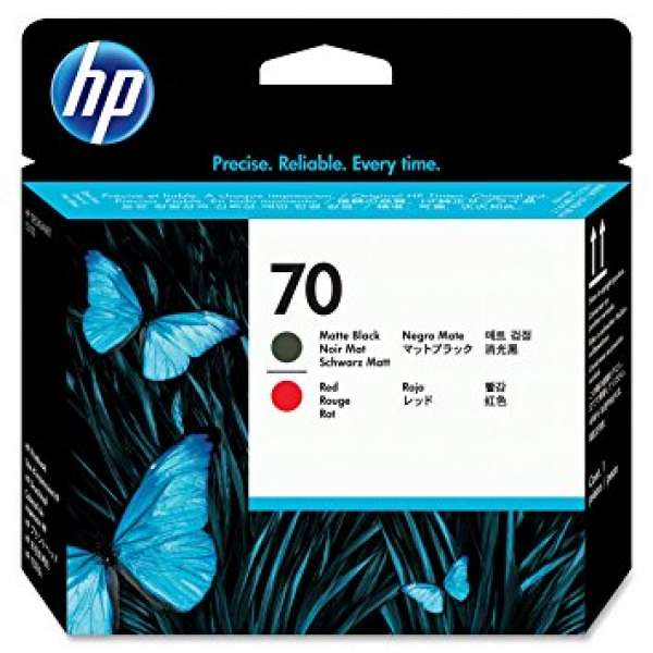 HP No. 70 Ink Printhead - Matte Black & Red