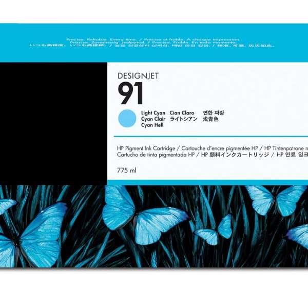 HP No. 91 Light Cyan Ink Cartridge 775ml