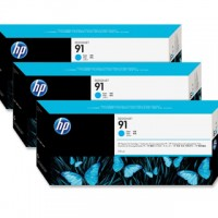 HP No. 91 Cyan Ink Cartridges - 775ml tripple pack