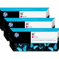 HP No. 91 Magenta Pigment Ink Cartridges - 775ml tripple pack