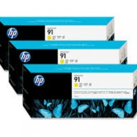 HP No. 91 Yellow Ink Cartridges - 775ml tripple pack