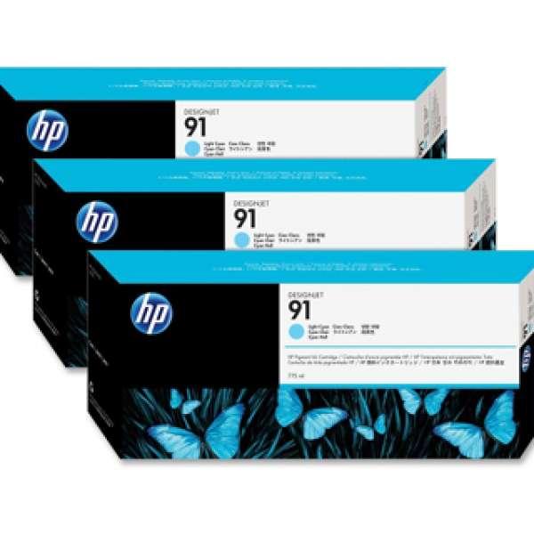 HP No. 91 Light Cyan Pigment Ink - 775ml tripple pack
