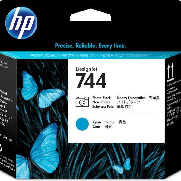 HP No. 744 Ink Printhead - Photo Black & Cyan