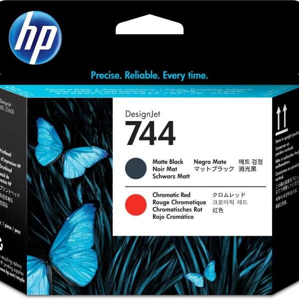 HP No. 744 Ink Printhead - Matte Black & Red
