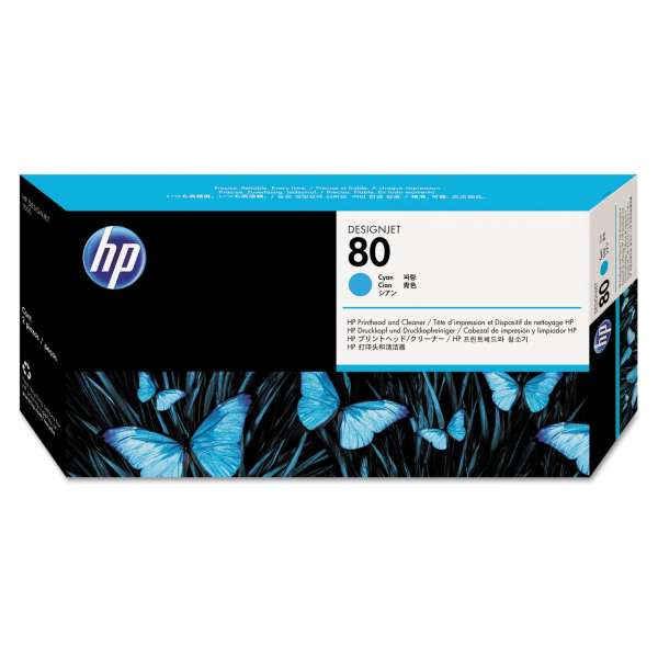HP No. 80 Ink Printhead and Cleaner - Cyan