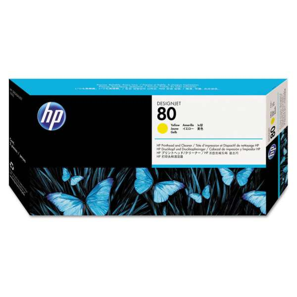 HP No. 80 Ink Printhead and Cleaner - Yellow