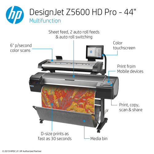 HP DesignJet Z5600 HD Pro Large Format Multifunction Graphics Printer - 44