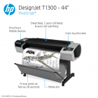 HP DesignJet T1300 Large Format Dual-Roll PostScript® Printer - 44