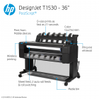 HP DesignJet T1530 Large Format Dual-Roll PostScript® Printer - 36