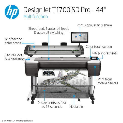 HP DesignJet T1700 SD Pro Large Format Multifunction PostScript® Printer - 44