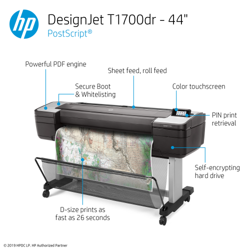 HP DesignJet T1700dr Large Format Dual-Roll PostScript® Printer- 44