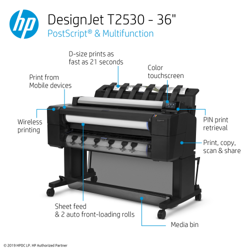 HP DesignJet T2530 Large Format Multifunction PostScript® Printer - 36