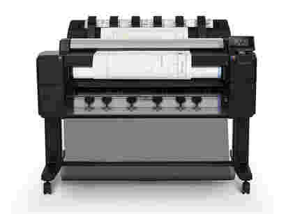 HP Designjet T2530 front view of scanning and printing
