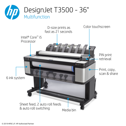 HP DesignJet T3500 Large Format Multifunction Printer - 36
