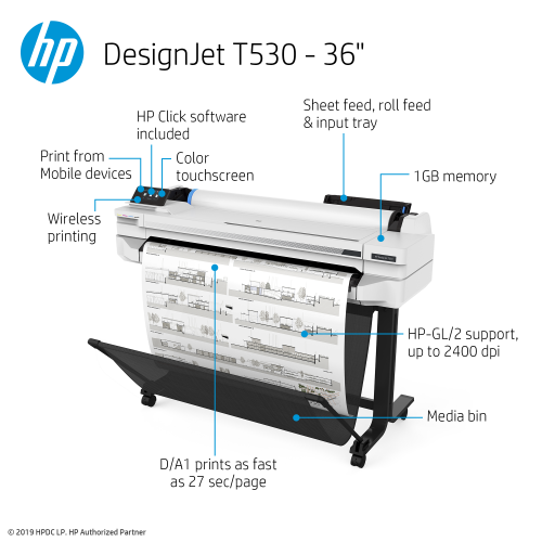 HP DesignJet T530 Large Format Wireless Printer – 36
