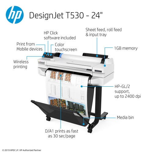 Hp Designjet T530 Large Format Wireless Printer 24 Quot With Mobile Printing 5zy60a Perfect