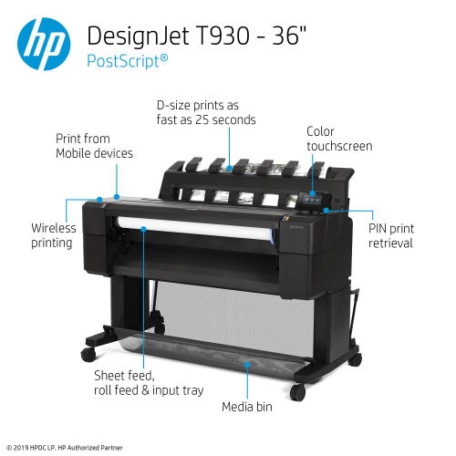 HP DesignJet T930 Large Format PostScript® Printer - 36