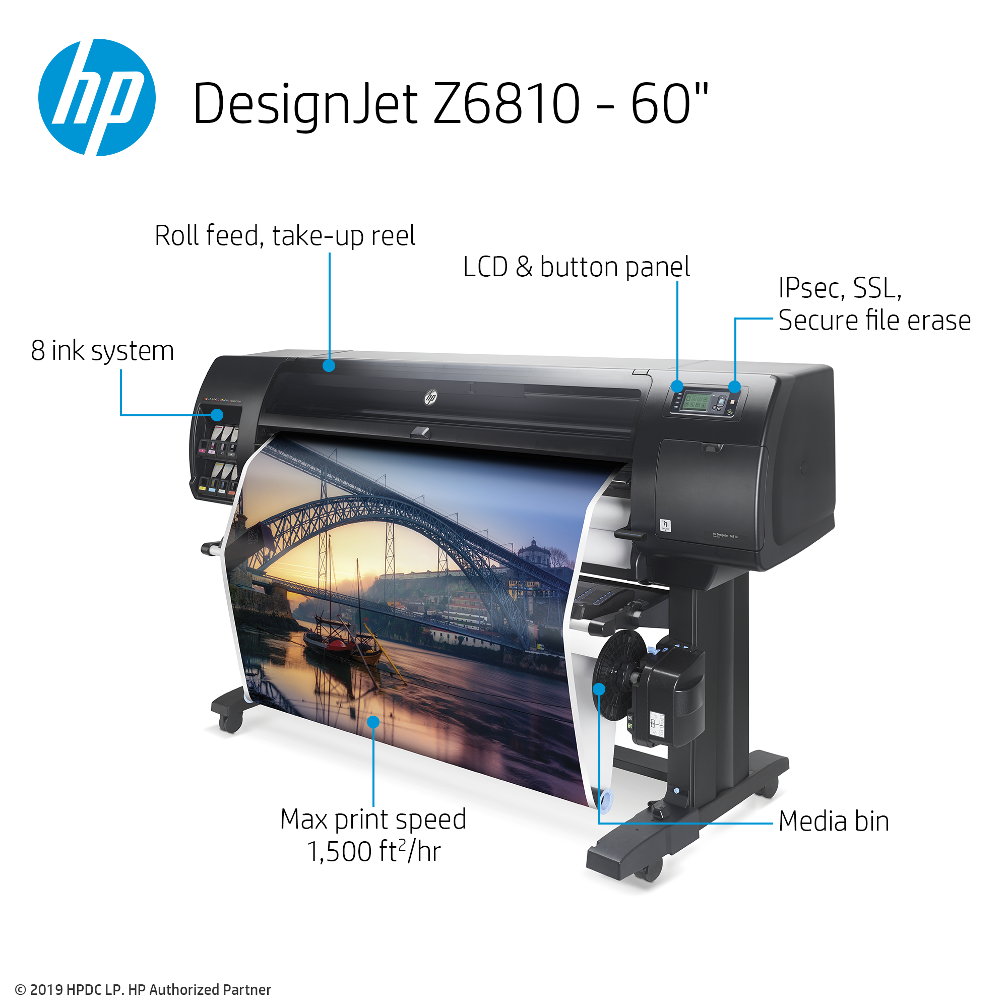 "HP DesignJet Z6810 Large Format Photo Printer - 60"", with ..."
